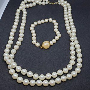Set of Faux Pearl Necklace And Bracelet Gold Tone